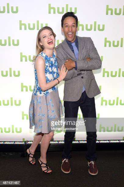 Gillian Jacobs and Danny Pudi attend Hulu's Upfront Presentation on April 30 2014 in New York City