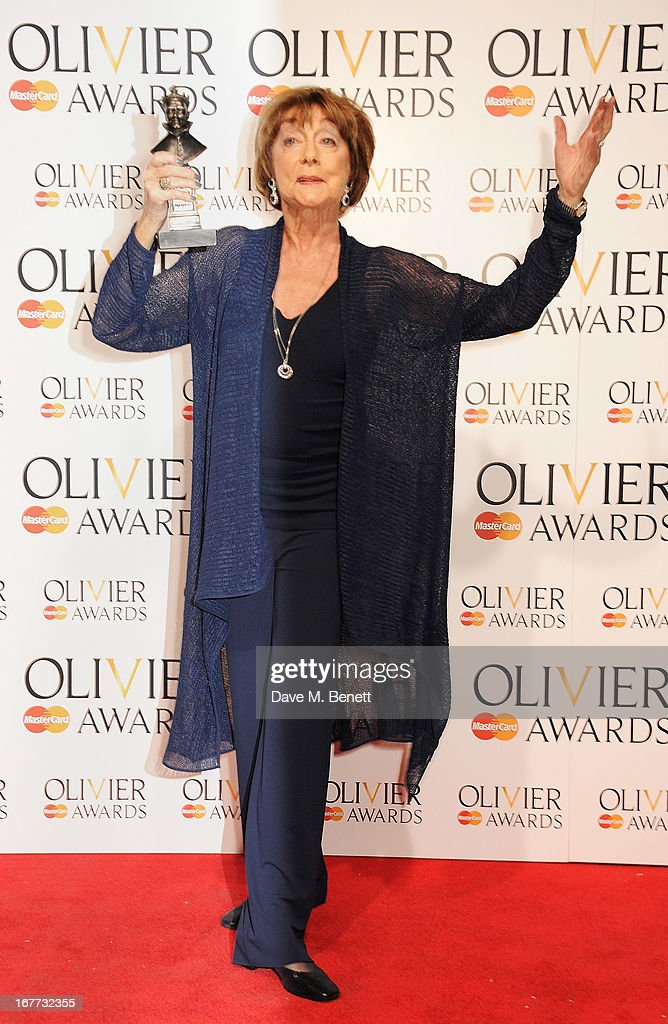 Gillian Lynne poses in the press room at The Laurence Olivier Awards 2013 at The Royal Opera House on April 28, 2013 in London, England.