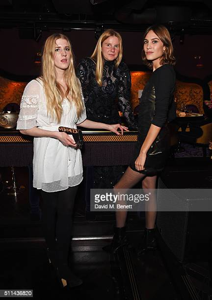 Gillian Orr Katie Hillier and Alexa Chung attend the Marc Jacobs Beauty dinner at the Club at Park Chinois on February 20 2016 in London England