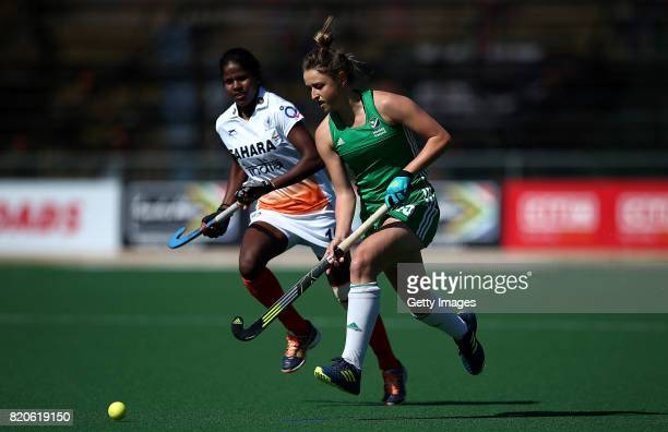 Gillian Pinder of Ireland battles with Namita Toppo of India during day 8 of the FIH Hockey World League Women's Semi Finals 7th/ 8th place match...