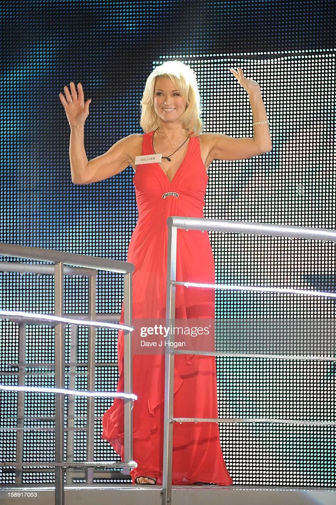 Gillian Taylford enters the Celebrity Big Brother House at Elstree Studios on January 3, 2013 in Borehamwood, England.