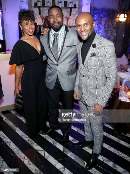 Gillian White Michael Jai White and singer Kenny Lattimore attend Pre ABFF Honors Cocktail Party hosted by Debra L Lee Jeff Friday at Cecconi's on...