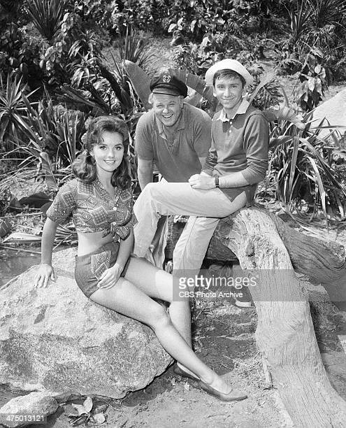 Gilligan's Island cast members from left Dawn Wells Alan Hale Jr and Bob Denver on set of episode 'Voodoo Something to Me' Image dated July 9 1964