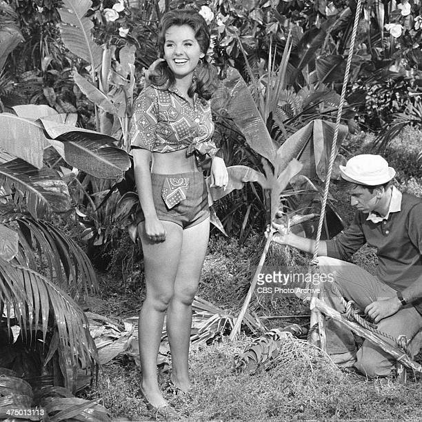Gilligan's Island cast members from left Dawn Wells and Bob Denver on set of episode 'Voodoo Something to Me' Image dated July 9 1964
