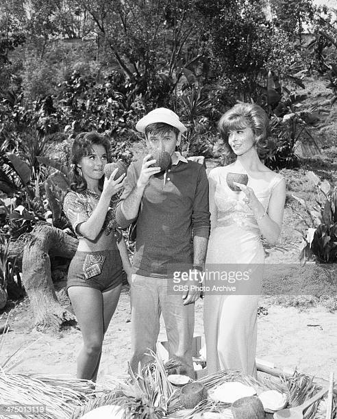 Gilligan's Island cast members from left Dawn Wells Bob Denver and Tina Louise on set of episode 'Voodoo Something to Me' Image dated July 9 1964