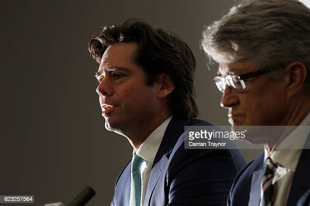Gillon Mclachlan and AFL Chairman Mike Fitzpatrick speak to the media to announce the 2012 Brownlow Medal will be awarded to Trent Cotchin of the...