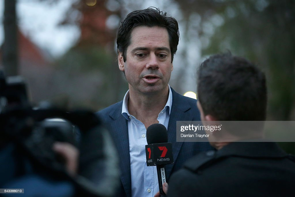 Gillon McLachlan arrives home before an AFL coaches dinner he is hosting at his Melbourne home on June 28, 2016 in Melbourne, Australia.