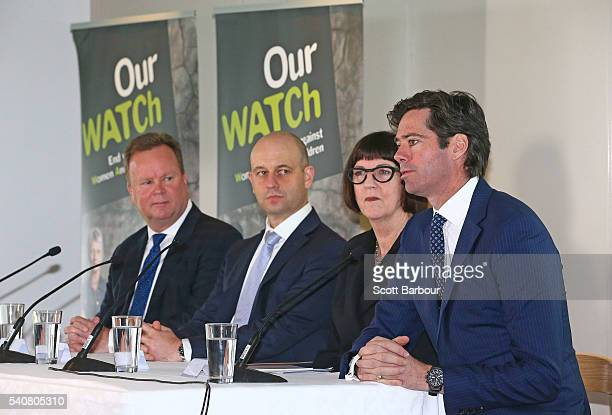 Gillon McLachlan CEO AFL Bill Pulver CEO ARU Todd Greenberg CEO NRL and Kate Palmer CEO Netball Australia speak during a 'Our Watch' media...