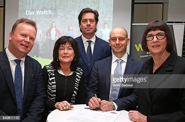 Gillon McLachlan CEO AFL Bill Pulver CEO ARU Todd Greenberg CEO NRL Kate Palmer CEO Netball Australia and Mary Barry CEO Our Watch sign a leader...