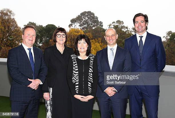 Gillon McLachlan CEO AFL Bill Pulver CEO ARU Todd Greenberg CEO NRL and Kate Palmer CEO Netball Australia pose with Mary Barry CEO Our Watch during a...