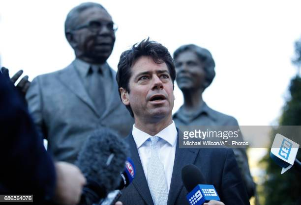 Gillon McLachlan Chief Executive Officer of the AFL addresses the media during the 2017 Toyota AFL Sir Doug Nicholls Indigenous Round Launch at the...