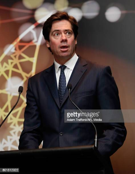 Gillon McLachlan Chief Executive Officer of the AFL addresses the crowd during the Bachar Houli Programs 2017 AFL Eid Celebration at Punt Road Oval...