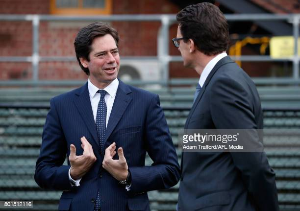 Gillon McLachlan Chief Executive Officer of the AFL chats to Brendon Gale CEO of the Tigers during the Bachar Houli Programs 2017 AFL Eid Celebration...