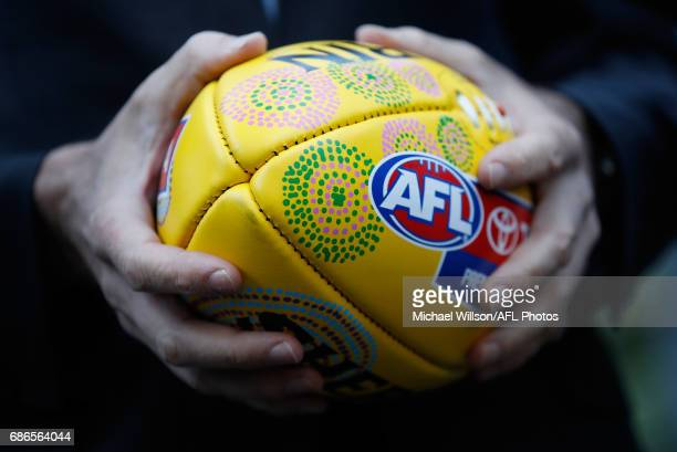 Gillon McLachlan Chief Executive Officer of the AFL holds the football during the 2017 Toyota AFL Sir Doug Nicholls Indigenous Round Launch at the...
