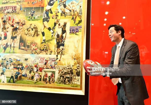 Gillon McLachlan Chief Executive Officer of the AFL is seen after a press conference to announce the teams granted licenses as part of the AFLW...