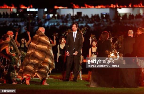 Gillon McLachlan Chief Executive Officer of the AFL is seen during Welcome to Country during the 2017 AFL round 10 Dreamtime at the G match between...