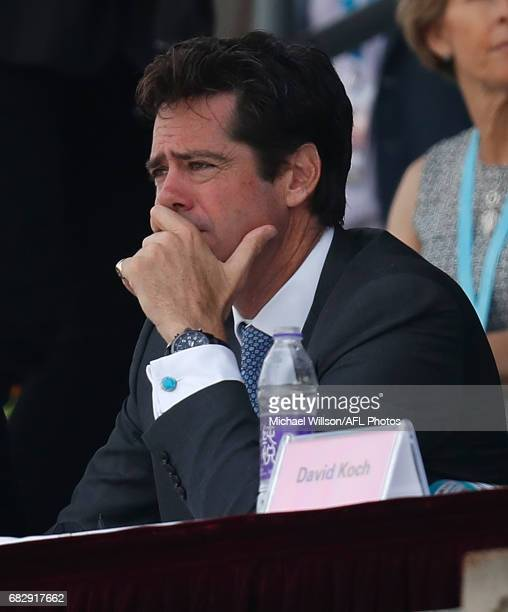 Gillon McLachlan Chief Executive Officer of the AFL looks on during the 2017 AFL round 08 match between the Gold Coast Suns and Port Adelaide Power...