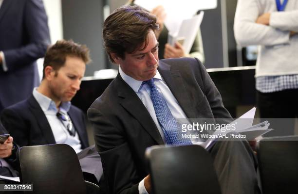Gillon McLachlan Chief Executive Officer of the AFL looks on during the 2018 AFL Premiership Fixture announcement at Melbourne Cricket Ground on...