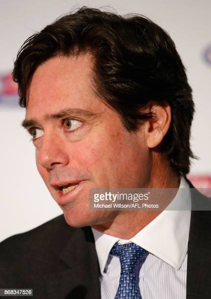 Gillon McLachlan Chief Executive Officer of the AFL speaks to the media during the 2018 AFL Premiership Fixture announcement at Melbourne Cricket...