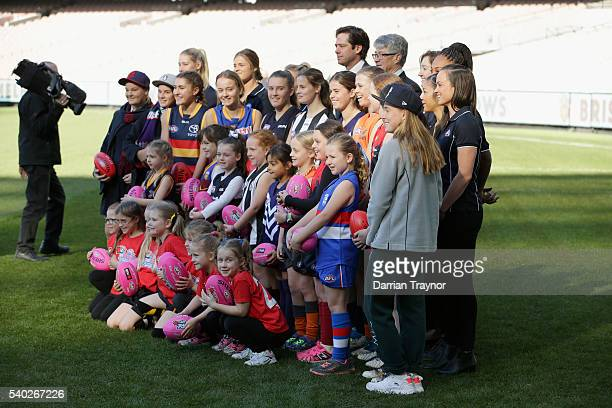 Gillon McLachlan Chief Executive Officer of the Australian Football League AFL Commissioner Major General Simone Wilkie and Mike Fitzpatrick Chairman...