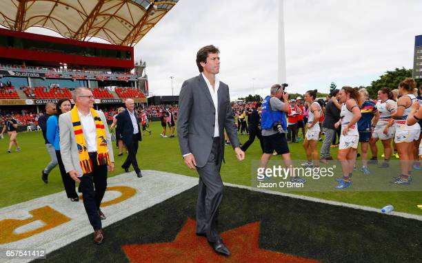 Gillon McLachlan during the AFL Women's Grand Final between the Brisbane Lions and the Adelaide Crows on March 25 2017 in Gold Coast Australia