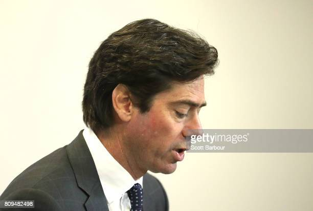 Gillon McLachlan is seen speaking at a press conference after the Northern Football League handed AFL Diversity Manager Ali Fahour a 14week...