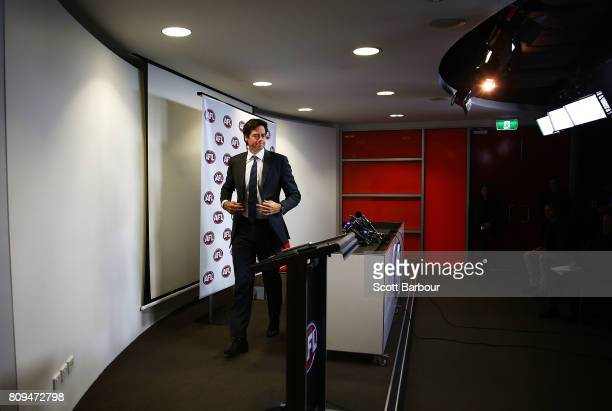 Gillon McLachlan leaves after speaking at a press conference after the Northern Football League handed AFL Diversity Manager Ali Fahour a 14week...