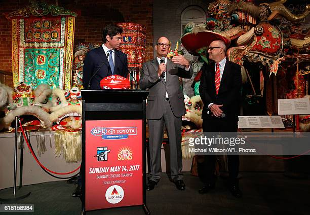 AFL CEO Gillon McLachlan Power President David Koch and Suns Chairman Tony Cochrane speak to the media during an AFL announcement at The Chinese...