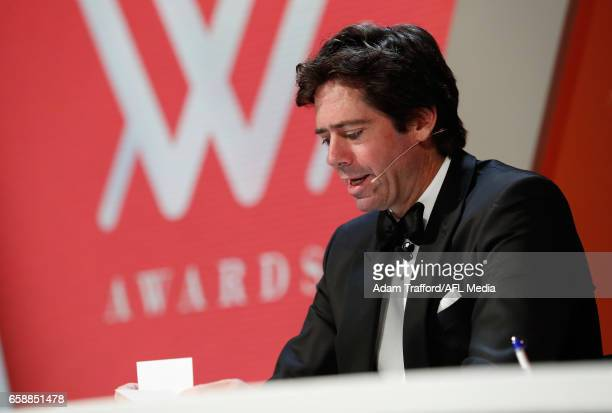 Gillon McLachlan reads votes during the The W Awards at the Peninsula on March 28 2017 in Melbourne Australia