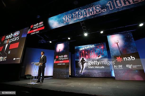 Gillon Mclachlan speaks during the 2016 AFL Draft at Hordern Pavilion on November 25 2016 in Sydney Australia