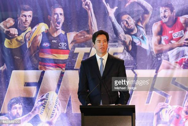 Gillon McLachlan speaks during the 2017 AFL Finals Launch at Melbourne Cricket Ground on September 4 2017 in Melbourne Australia