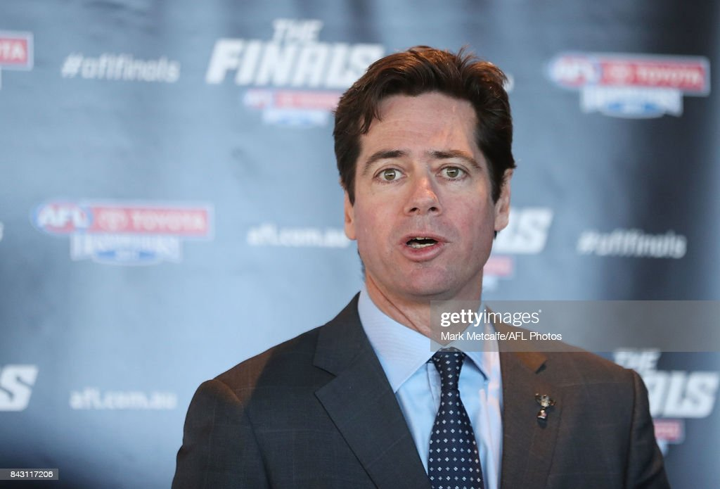 Gillon McLachlan speaks on stage during the AFL Grand Final media announcement at The Museum of Contemporary Art Australia on September 6, 2017 in Sydney, Australia.