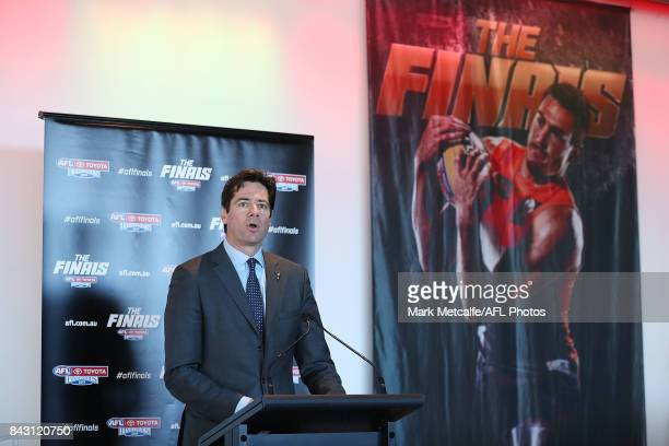 Gillon McLachlan speaks on stage during the AFL Grand Final media announcement at The Museum of Contemporary Art Australia on September 6 2017 in...