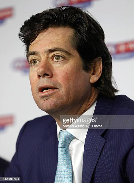 Gillon McLachlan speaks to the media during the 2017 AFL Season Fixture Release at AFL House on October 27 2016 in Melbourne Australia
