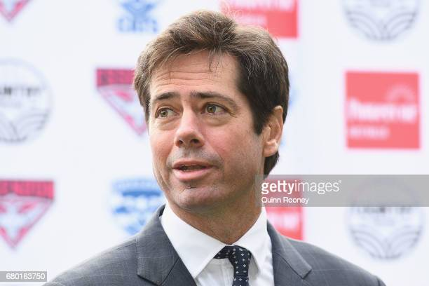 Gillon McLachlan speaks to the media during the 2017 Powercor Country Festival Launch at Melbourne Cricket Ground on May 8 2017 in Melbourne Australia