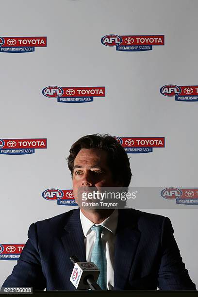 Gillon Mclachlan speaks to the media to announce the 2012 Brownlow Medal will be awarded to Trent Cotchin of the Tigers and Sam Mitchell of the...