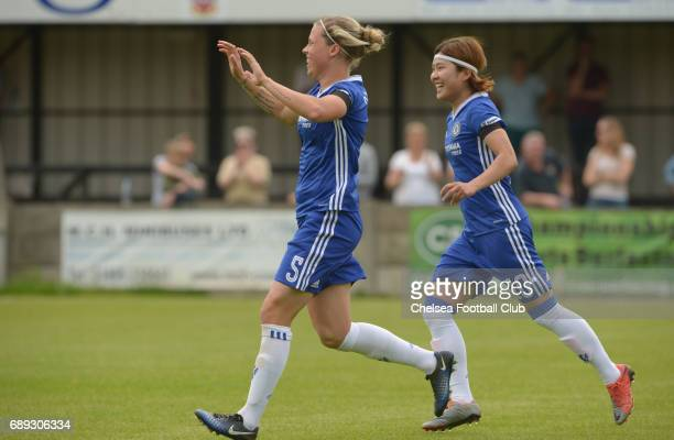 Gilly Flaherty celebrates after she scores to make it 10 a WSL match between Chelsea Ladies and Liverpool Ladies on May 28 2017 in Staines England