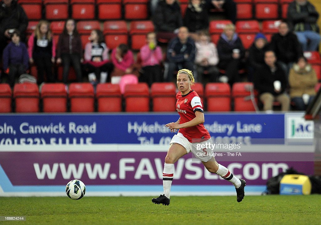 Gilly Flaherty of Arsenal Ladies during the FA WSL match between Lincoln Ladies FC and Arsenal Ladies FC at the Sincil Bank Stadium on May 15, 2013 in Lincoln, England