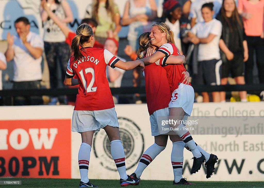 Gilly Flaherty (R) of Arsenal Ladies FC celebrates her goal with team-nates during the FA WSL match between Arsenal Ladies FC and Chelsea Ladies FC at Meadow Park on June 06, 2013 in Borehamwood, England.