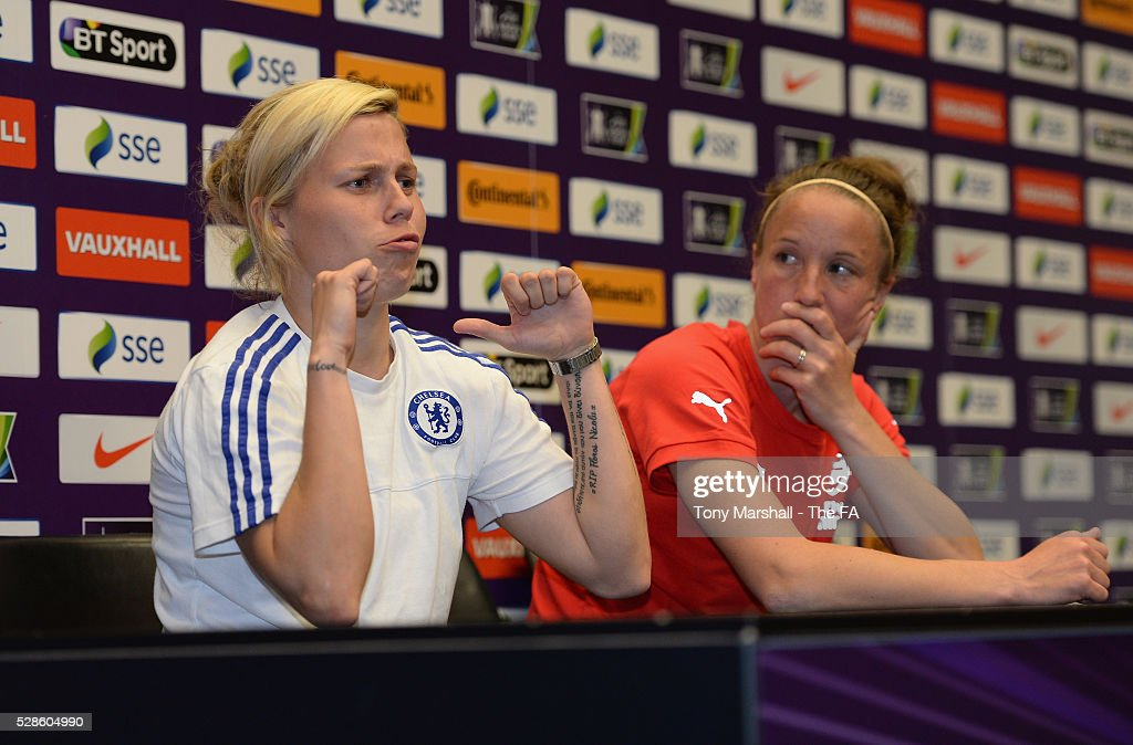Gilly Flaherty of Chelsea FC Ladies and <a gi-track='captionPersonalityLinkClicked' href=/galleries/search?phrase=Casey+Stoney&family=editorial&specificpeople=2357476 ng-click='$event.stopPropagation()'>Casey Stoney</a> of Arsenal Ladies are interviewed by players of Stockfold Juniors FC during the SSE Women's FA Cup Final - Wembley Media Day at Wembley Stadium on May 6, 2016 in London, England.