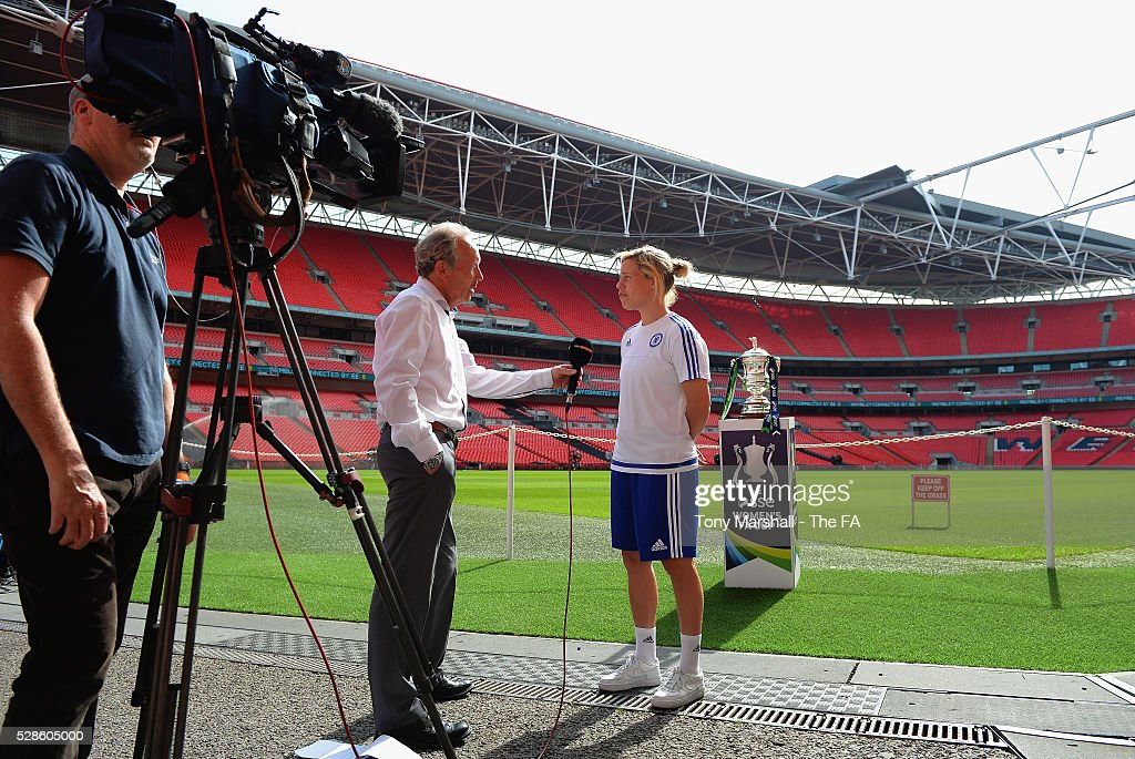 Gilly Flaherty of Chelsea FC Ladies is interviewed by Sky Sports during the SSE Women's FA Cup Final - Wembley Media Day at Wembley Stadium on May 6, 2016 in London, England.