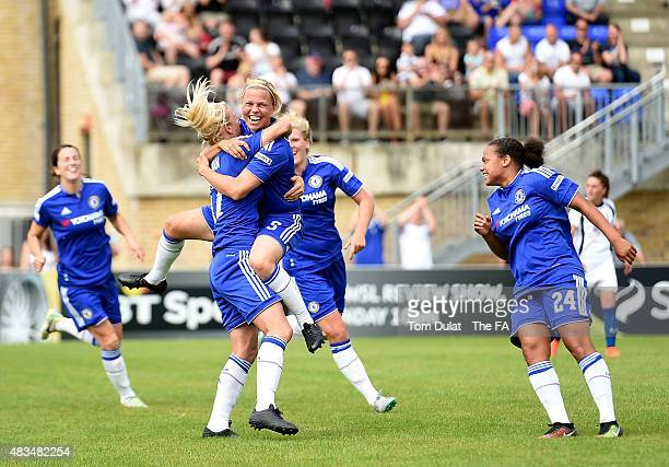 Gilly Flaherty of Chelsea Ladies FC celebrates scoring the second goal during the FA Women's Super League match between Chelsea Ladies FC and...