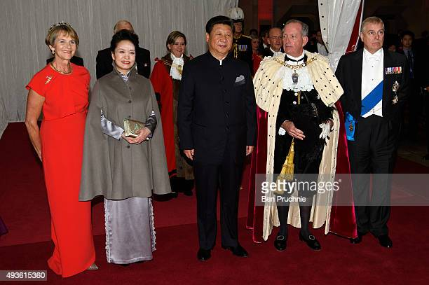 Gilly Yarrow Peng Liyuan President of the People's Republic of China Xi Jinping Alan Yarrow and Prince Andrew Duke of York pose for photographers on...