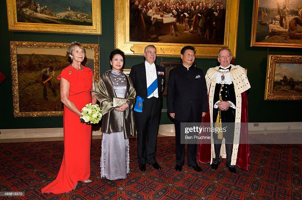 Gilly Yarrow, Peng Liyuan, Prince Andrew, Duke of York, President of the People's Republic of China Xi Jinping and Alan Yarrow pose for photographers during the Lord Mayors banquet at The Guildhall on October 21, 2015 in London, England. The President of the People's Republic of China, Mr Xi Jinping and his wife, Madame Peng Liyuan, are paying a State Visit to the United Kingdom as guests of The Queen. They will stay at Buckingham Palace and undertake engagements in London and Manchester. The last state visit paid by a Chinese President to the UK was Hu Jintao in 2005.