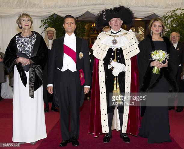 Gilly Yarrow wife of the Lord Mayor of London Alan Yarrow Mexican President Enrique Pena Nieto the Lord Mayor of London and the Mexican President's...