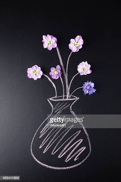 Gillyflowers in vase painted with chalk, close up