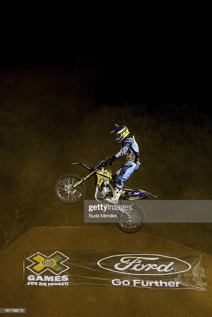 Gilmar Flores in action during Moto X Freestyle Up at the X Games on April 19, 2013 in Foz do Iguacu, Brazil.