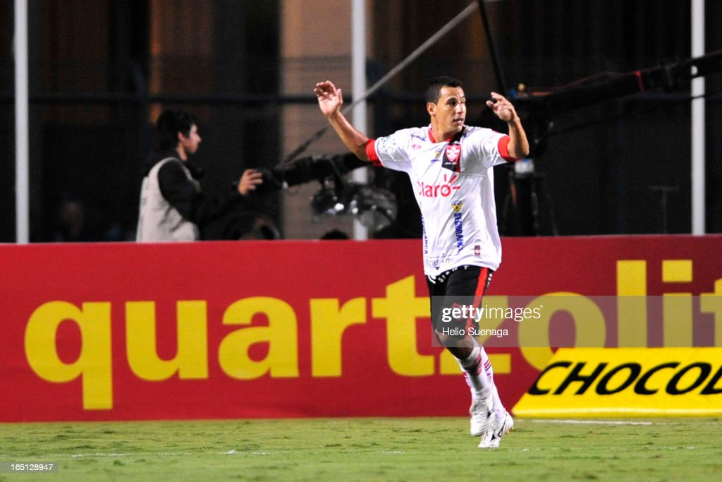 Gilsinho of Linense celebrates a goal during the match between Palmeiras and Linense as part of Paulista Championship 2013 at Pacaembu Stadium on March 30, 2013 in São Paulo, Brazil.