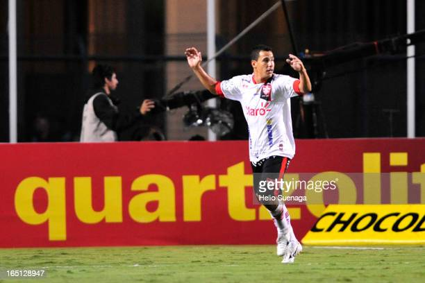 Gilsinho of Linense celebrates a goal during the match between Palmeiras and Linense as part of Paulista Championship 2013 at Pacaembu Stadium on...