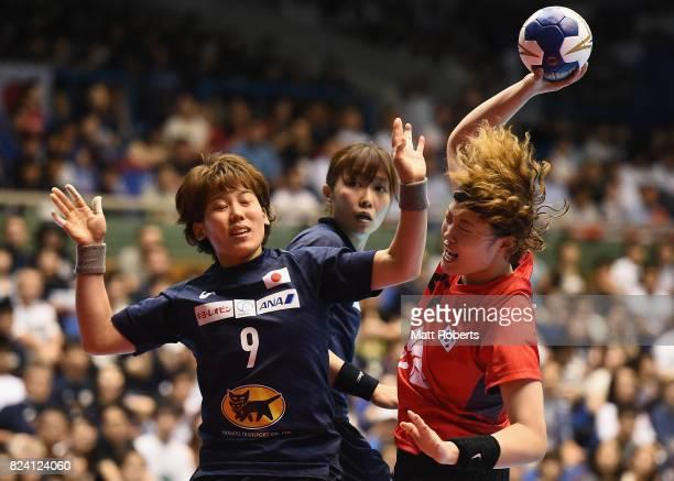 Gim Boeun scores a goal during the women's international match between Japan and South Korea at Komazawa Gymnasium on July 29 2017 in Tokyo Japan